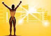 Winner woman — Stock Vector