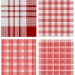Set of white and red checkered tablecloths — Stock Vector