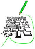 Maze and a pencil — Stock Vector