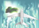 Airplane over the sea — Stockvector