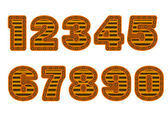 Copper colored numbers — Vector de stock