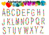 Alphabet with hearts — Stock Vector