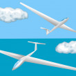Stock Vector: Gliders and clouds