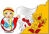 Fondo decorativo con muñecas matreshka — Vector de stock