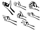 Silhouette mains — Vecteur