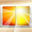 Stock Vector: Sunlight in window