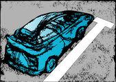 Abstraktní modré auto — Stock vektor