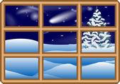 Winter window — Stock Vector