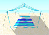 Beach tent on a sand — Stock Vector