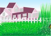 Country house garden — Stock Vector