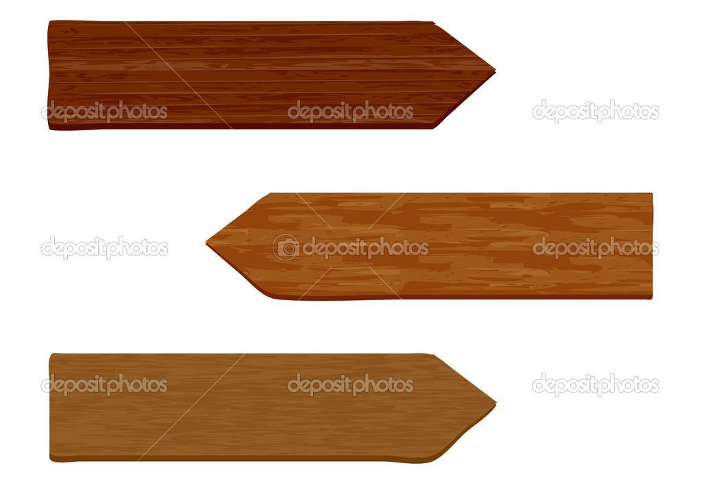 孤立的白色衬底上的抽象木制箭头– 图库插图