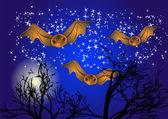 Bats in night sky — Stock Vector