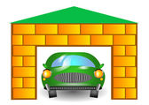 Green car in garage — Vecteur