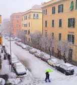 Buildings under snow fall — Stock Photo