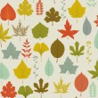 Stock Vector: Autumn Leaves Pattern