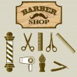 Stock Vector: Barber Shop or Hairdresser icons and signpost