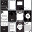 Set of 12 elegant black and white cards — Stock Vector