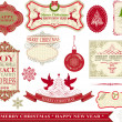 Stock Vector: Set of Vintage Merry Christmas and Happy New Year Labels, Baubles, Snowflakes, Messages and Stickers