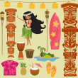 Hawaii Symbols and Icons — Vettoriali Stock