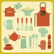 Set of Kitchen Accessories and Utensils — Stock Vector