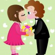 Children in love exchanging a Valentine gift — Stock Vector