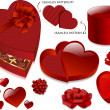 Deep Blood-Red Heart-Shaped Valentine Gift Boxes — Stock Vector