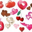 Set of Valentine hearts and heart icons — ストックベクタ