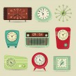 Set of Retro Clocks — Stock Vector