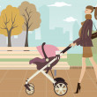 Stock Vector: Young mom taking her baby for stroll through park