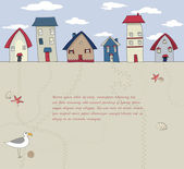 Seaside Houses Background — Stock Vector