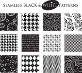 Black and White Seamless Patterns — Stock Vector