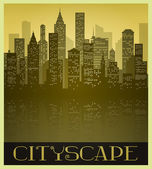 Metropolitan Cityscape in Sepia tones and Vintage Style — Stock Vector