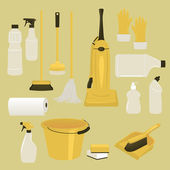 Set of Cleaning Supplies and Tools — Stock Vector
