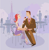 Young Couple on a Date in Paris — Stock Vector
