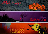Three Halloween Banners — Stock Vector