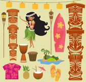 Hawaii-symbole und icons — Stockvektor