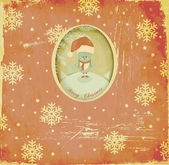 Vintage Christmas and New Year Greeting Card — Stock Vector