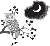 Moonlight Owl, Doodle — Stock Vector