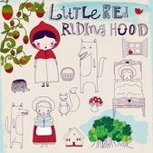 Little Red Riding Hood Fairytale — Vettoriale Stock