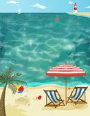 Sunny Summer Day on a Sandy Beach — Stock Vector