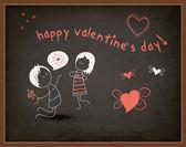 Alla hjärtans dag hälsning på svarta tavlan — Stockvektor