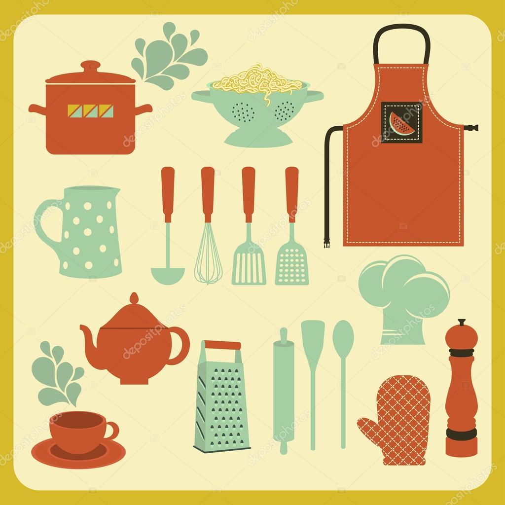 Conjunto de utensilios y accesorios de cocina vector de for Utensilios y accesorios de cocina