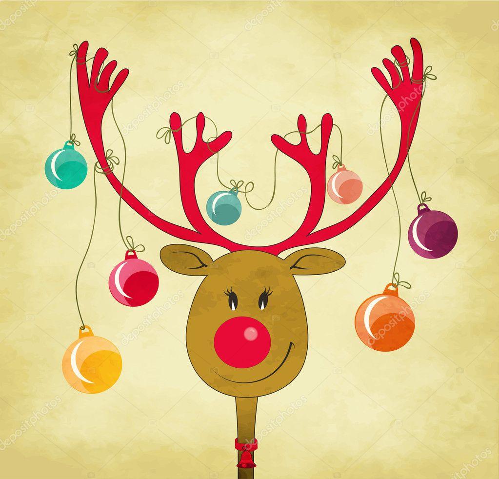 Reno con adornos de rbol de navidad atadas a sus cuernos - Renos de navidad con luces ...