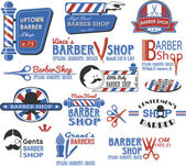 Set of Barber Shop Signs, Symbols and Icons — Stock Vector