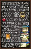 Terug naar school schoolbord typografie poster — Stockvector
