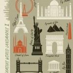Set of famous world landmarks — Stock Vector