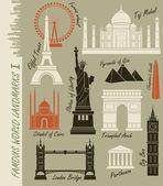 Ensemble de monuments célèbres monde — Vecteur