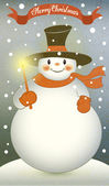 Snowman with Christmas Candle — Stock Vector