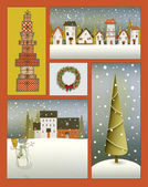 Vintage Christmas Poster Collage — Stock Vector