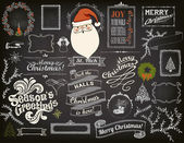 Christmas Design Elements on Chalkboard — Stock Vector